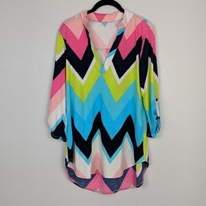 Tops - Colorful Chevron Roll Tab Sleeve Blouse
